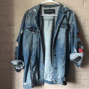 Boyfriend fit embroidered denim jacket